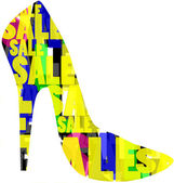 SALE written on high heel shoe design — Stock Photo