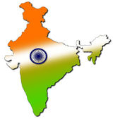 Indian map with tricolour — Stock Photo