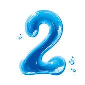 Serie abc - acqua liquida numeri - numero 2 — Vettoriale Stock