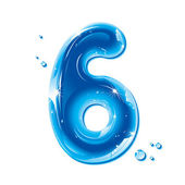 ABC series - Water Liquid Numbers - Number 6 — Stock Vector