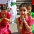 Children students dancing in Indian costumes for 23 April Children Festival - Stock Photo