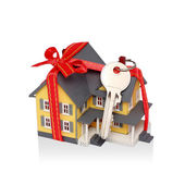 Gift miniature house with red ribbon and key isolated - Includin — Stock Photo
