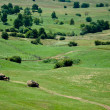 Royalty-Free Stock Photo: Green rolling hills and farmers collecting hay