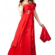 Young woman in red dress with a shawl — Stock Photo