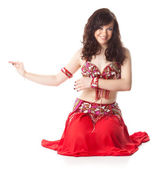 Beautiful woman in dancing arabic dance — Stock Photo