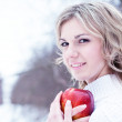 The beautiful young bolnd woman in winter wood — Stock Photo #9772965
