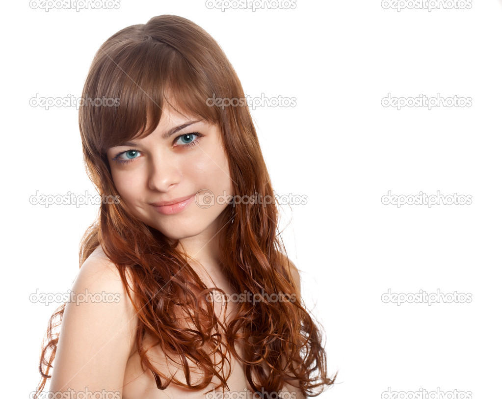 Portrait of young beautiful brunette  woman. Studio shot. Isolated on white background — Stock Photo #9815754