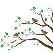 Tree Birds — Vector de stock