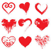 Grunge Ink Hearts — Stock Vector