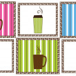 Stock Vector: Pinstripe Coffee Tiles