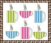 Pinstripe Coffee Cups — Stock Vector