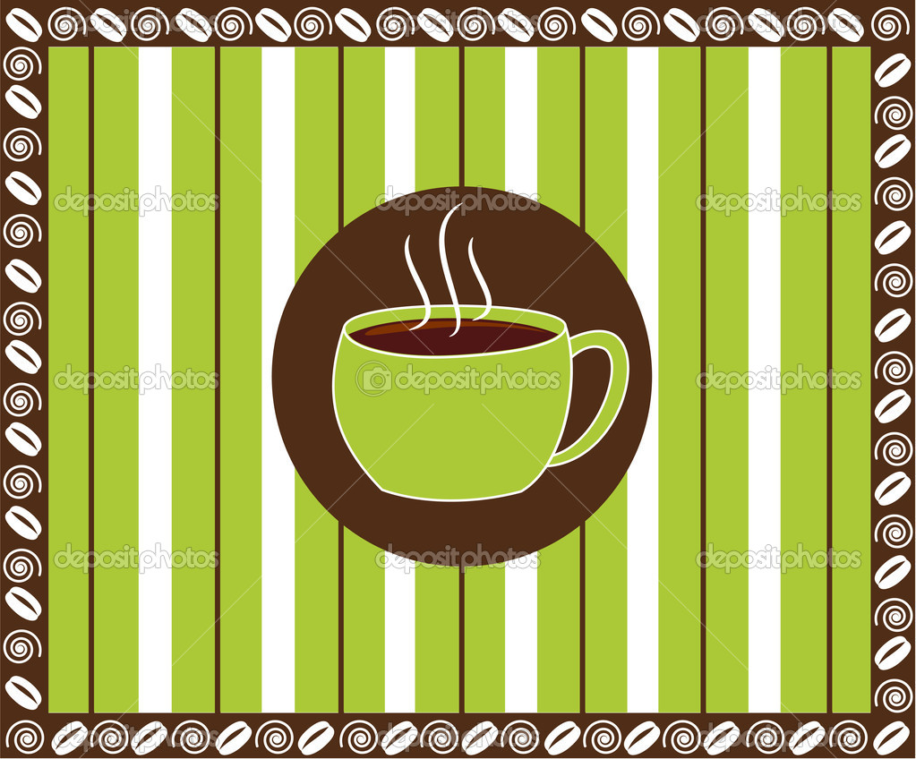 A lime green pinstripe pattern with a cup of coffee in the middle. — Stock Vector #9527211