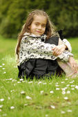 Girl on grass — Stock Photo