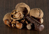 Hazelnuts and walnuts with chocolate — Stock Photo