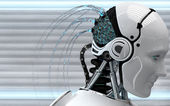 Robot with artificial brain — Stock Photo