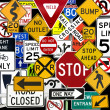 Stock Photo: Montage of Numerous Traffic Control Signs and Signals