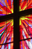 Cross in Stained Glass Window — Stock Photo