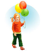 Child With Ballons — Stock Vector
