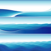 Set Of Blue Abstract Wave Backgrounds — Stock Vector
