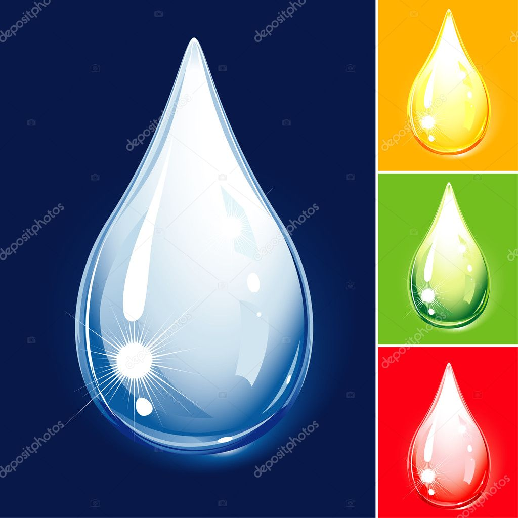 Colorful Drop Set, Water And Oil, editable vector illustration - EPS8 — Stock Vector #9325628