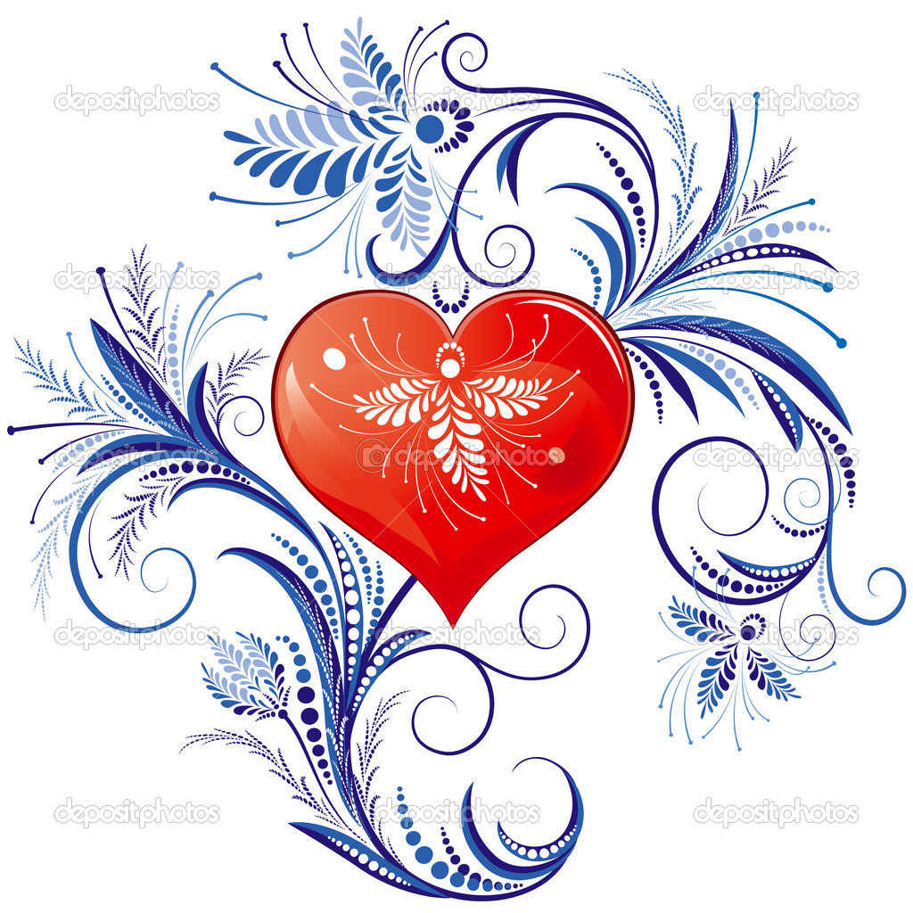 Red Heart With Blue Floral Ornaments, editable vector illustration - EPS8 — Stock Vector #9325789