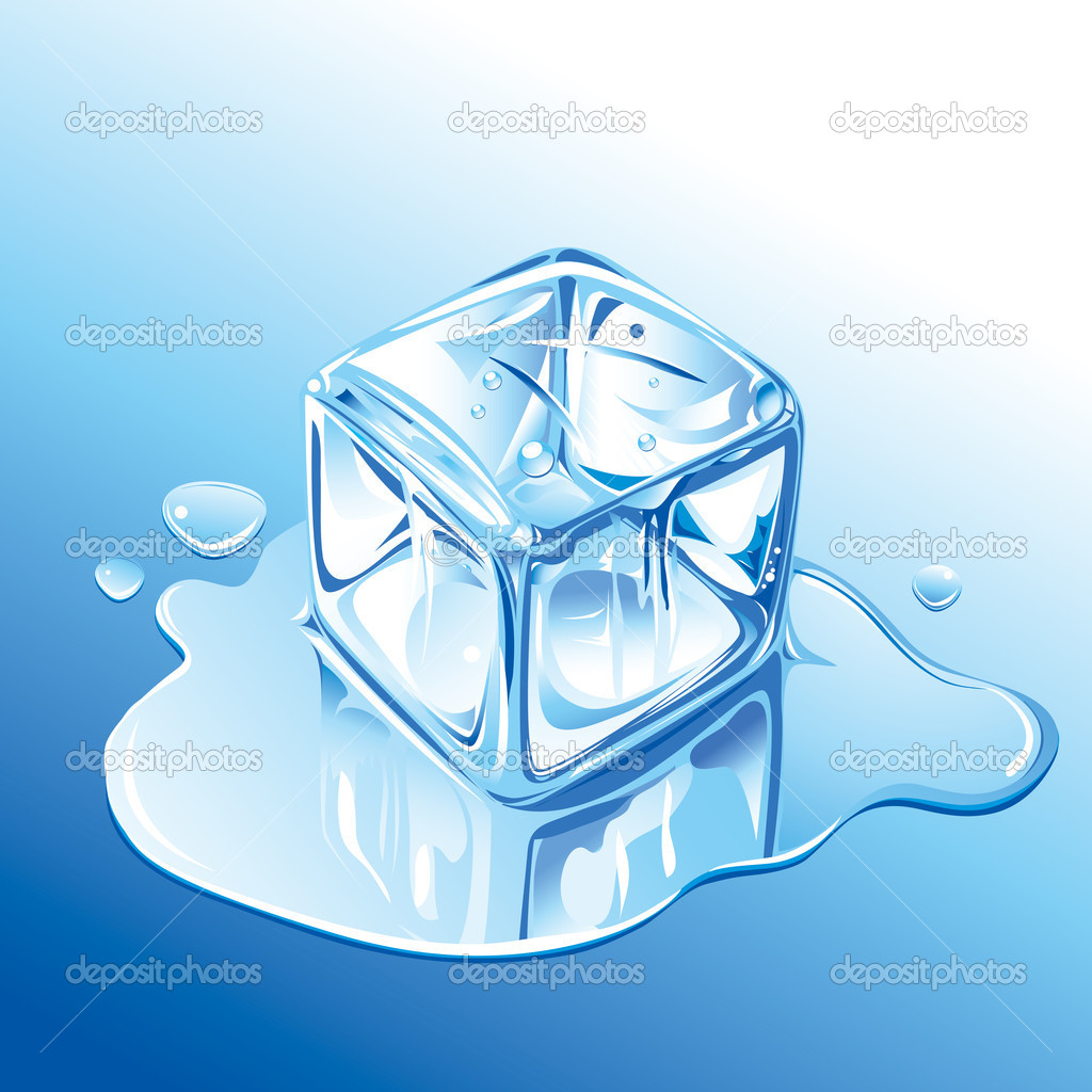 Melting Blue Ice Cube, editable vector illustration EPS8 — Stock Vector #9326433