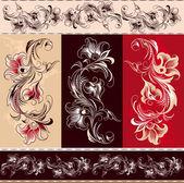 Dekoracyjny ornament kwiatowy elementy — Wektor stockowy