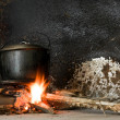 Cooking Pot On An Open Fire — Stock Photo
