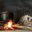 Stock Photo: Cooking Pot On Open Fire