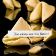 Fortune cookie: &quot;The skies are the limit&quot; - Stock Photo