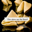 "Fortune cookie: ""The skies are the limit"" - 图库照片"