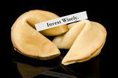 "Fortune cookie: ""Invest Wisely."" — Stock Photo"