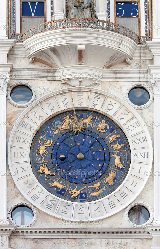 St Mark's clock housed in the St Mark's Clocktower, on St Mark's Square in Venice — Stock Photo #9410359