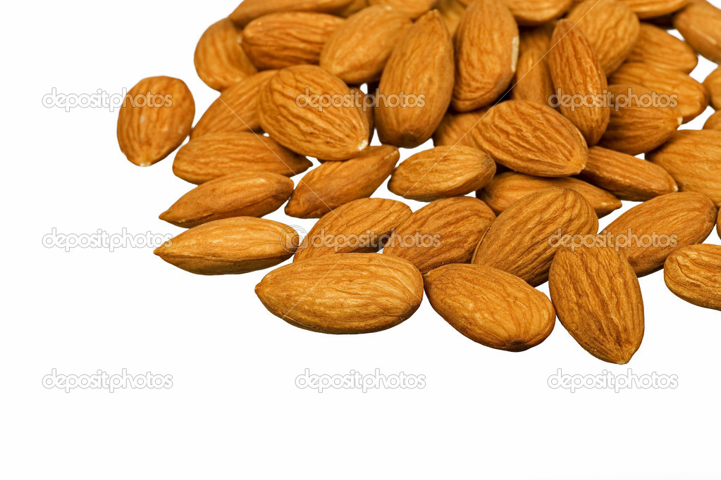 Whole almonds on white background — Stock Photo #10510068