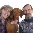Stock Photo: Retired couple with their dog