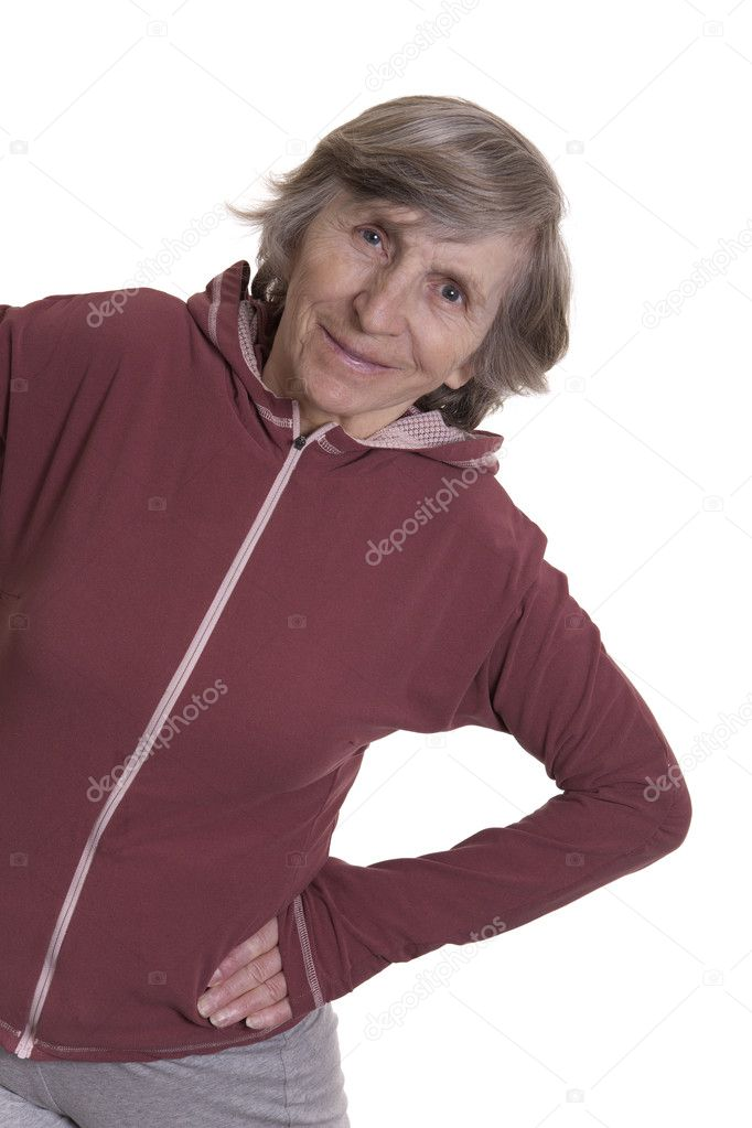 Exercising retired elderly womanon white background  Stock Photo #9322029