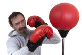 Senior man boxing — Stock Photo