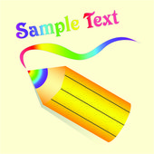 Yellow pencil with rainbow lead on beige background. Vector — Stock Vector