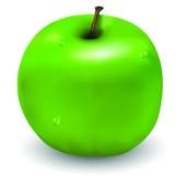 Pyszne jabłko z kilku krople wody na to — Wektor stockowy