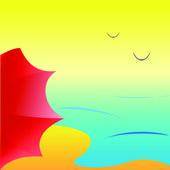 Sea beach with red umbrella, vector — Stock Vector