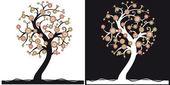 Czarno-białe drzewa — Wektor stockowy