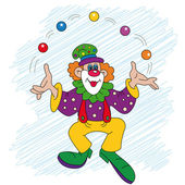 Clown with balls — Stock Vector