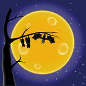 Bat on the background of the Moon — Stock Vector