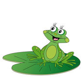 Green frog sitting on green leaf — Stock Vector