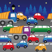 Cars on the highway. seamless vector pattern — Stock Vector