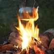 Royalty-Free Stock Photo: Teapot over campfire
