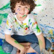 Adorable boy painting — Stock Photo