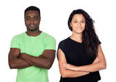 Brunette woman and attractive african men — Stock Photo