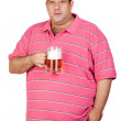 Fat man drinking a jar of beer — Stock Photo #9424605