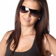 Attractive young woman with sunglasses — Stock Photo